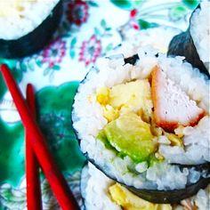 Teriyaki Chicken Sushi with avocado and tamago