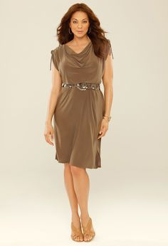 Drawstring Belt Dress, Plus Size