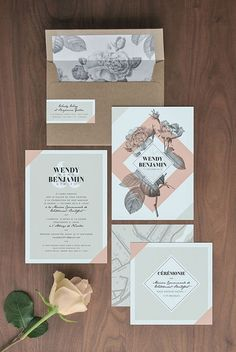 Modern Wedding Invitations | Grey Floral Wedding Stationery | Kraft Wedding Stationery