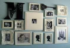Photo collage {Mostly repainted frames, many thrifted}