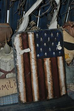 Hand Painted American Flag 1940's Vintage Roofing Slate