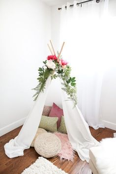 This teepee was constructed for the nursery of a very lucky baby girl, soon to be welcomed by the very lovely Rayvin and William, for their Breaking Beige room makeover. She'll grow up within its dreamy, breezy white fabric walls and be able to make memories and forge her own imagination and creativity there. Yes, [...]