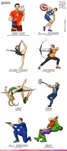 Olympic Avengers. Not sure why Loki is pole vaulting. I pity the Hulk's wrestling opponent.