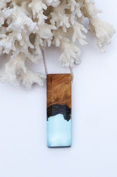 Pale Blue Resin and Burr Wood Necklace by OceanBlissDesign on Etsy