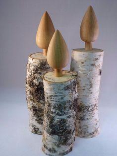 3 Stck. Deko-Holzkerzen Birke Kerzen aus Holz Weihnachten gederechselt | eBay