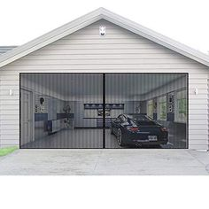 Magnetic Garage Door Screen Door Mesh with Hook and Loop Tape Durable Fiberglass Garage Screen Cover Kit, Heavy Duty Door Screen Curtain 💨Fits Garage Sizes Up to 16x7': Our 16x7FT double door screen can be used as a replacement for fixed screen and fits front, rear, interior or exterior entry, patio, deck, porch, balcony, etc. 💨Let Fresh Air In: Our premium fiberglass garage door screen is ventilated and illuminates your garage. It last much longer than polyester one. It seals the entire edge Garage Renovation, Garage Interior, Garage Remodel, Garage Makeover, Apartment Interior, Fiberglass Garage Doors, Wood Garage Doors, Garage Entry, Garage Door Screens
