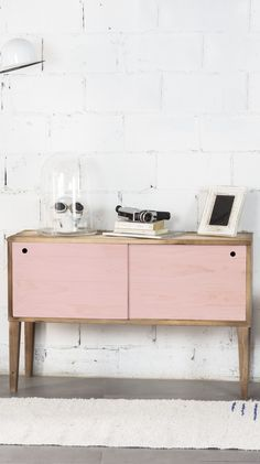 Pink sideboard with 2 sections
