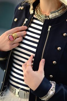 classic: necklace, rings, jacket