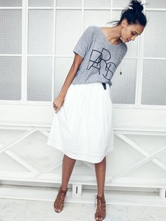 Madewell Paris tee worn with openwork skirt + the Lucienne heel.