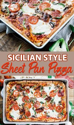 Sheet Pan Sicilian Pizza Recipe - Sheet Pan Sicilian style pizza recipe is homemade in a sheet pan to help feed the whole family! It's delicious made up of homemade dough, cheeses and toppings and it& incredibly easy to make. Sicilian Pizza Recipe, Sicilian Style Pizza, Sheet Pan Pizza Recipe, Recipe Sheets, Pizza Pizza, Thin Crust Pizza, Pizza Dough, Pizza Recipes, Cooking Recipes