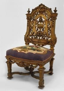 "French Louis XIV style gilt 5 piece salon set with filigree carved back and tapestry upholstery (settee: 68""w 28½""d 50""h, 4 side chairs) (19th Cent.)"