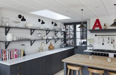 Open shelving and grey cabinets.  Love the different lighting finishes.