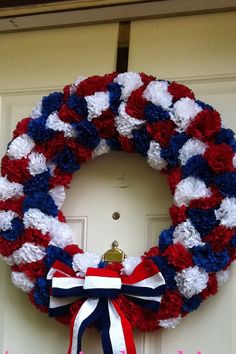 made out of red, white and blue carnations. Patriotic bow added on. A monogram letter can be added to hang in the middle. Wreath Crafts, Wreath Ideas, Fourth Of July, Independence Day, Holidays And Events, Patriotic Wreath, Patriotic Crafts, July Crafts, 4th Of July Wreath
