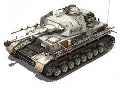 SD KFZ 161 PzKpfw IV - Panzer 4 - Ausf H  - Late Production avec canon de 7,5cm KwK40 L48 - Camouflage et chenilles d'hiver