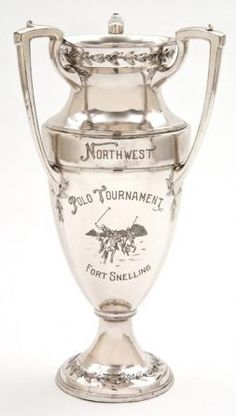 Sliver painted loving cup awarded to the Pierre Polo and Riding Club, winners of the 1932 polo tournament held at Fort Snelling.