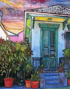 34  French Quarter With Potted Plants Painting  - 34  French Quarter With Potted Plants Fine Art Print
