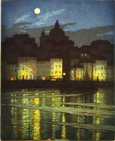 "Moonlight, Taranta (Italy), Frederick Marriott (1860 - 1941) c. 1935. Color aquatint and etching, ~ 8""x10"""