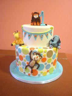 Animals ( Aqua,Orange,Lime green , yellow dots) Cute baby shower or birthday cake