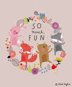"We must always remember to have ""SO much FUN"" Illustration & Surface Pattern Design by Aless Baylis Illustration Mignonne, Art Mignon, A4 Poster, Jolie Photo, Children's Book Illustration, Cute Animal Illustration, Surface Pattern Design, Cute Art, Art For Kids"