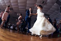Low Wide Angle of bride and groom dancing  See more of our work at www.azulox.com