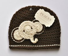 Baby Hats - Brown  Ivory Elephant Baby Beanie Hat (Baby Gifts Baby Beanie Newborn Hat Crochet Baby Hat Newborn Hats Baby Beanies)