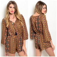 NEW!Boho romper Bohemian style romper in rust. 100% polyester. Tassel tie in front. 3/4 sleeves. Open back. Available in sizes small medium & large. Runs slightly small. Large measures bust 38 inches, 30 inches waist (stretches to 32 inches), 31 inches length. Love Riche Pants Jumpsuits & Rompers