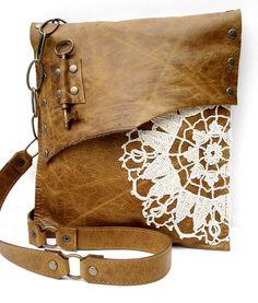 Boho Leather Messenger Bag w/ Crochet Doily & by UrbanHeirlooms