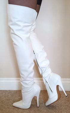 White leather thigh high boots