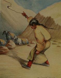 A Tibetan girl guarding a herd of goats slings a small rock.