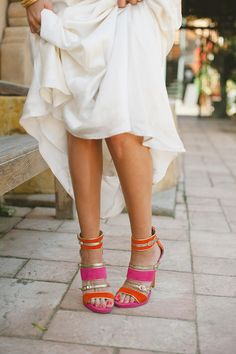 Hot pink and orange wedding shoes! // photo by Delbarr Moradi styled by AandBStyle.com