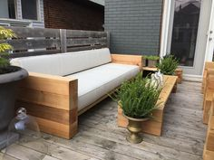 Had my brother build us an outdoor sofa and 2 chairs inspired by the Aspen Collection from RH. All made from cedar and PT timber. Custom cushions by a local fabric store and save huge over the Restiration Hardware price.