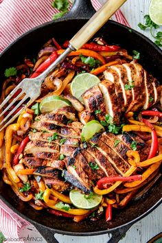 easy Skillet Chicken Fajitas - these are restaurant quality (or better!) fajitas at home! The marinade is out of this world and only 10 minute cook time!