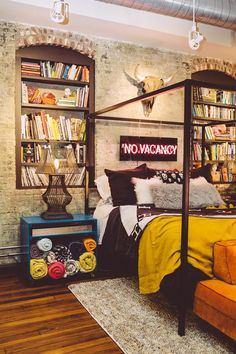 eclectic decor Barri Thompson Interior Design, Birmingham, AL // artistic interior design / artists loft inspo / artists workspace / edgy interior design / modern interiors / eclectic chic / edgy bedroom decor Edgy Bedroom, Bohemian Bedroom Decor, Home Decor Bedroom, Modern Bedroom, Bedroom Ideas, Bedroom Designs, Eclectic Bedrooms, Bedroom Loft, Eclectic Quilts
