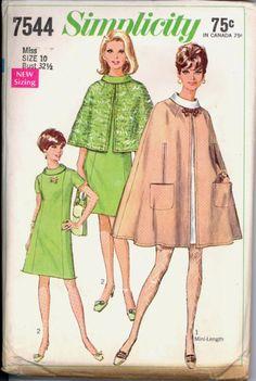 Uncut 1960s Lined Cape Dress Simplicity 7544 by VintagePatternsCo1
