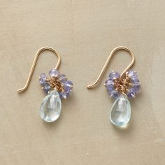 """MEMORY LANE EARRINGS--Polly Hart recalls the cool colors of her childhood quilt in drops of aquamarine topped with tanzanite. 14kt gold with French wires. Handcrafted in USA. Exclusive. 3/4""""L."""