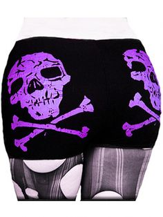 "Women's ""Skull & Crossbones"" Shorts by Rockin' Bones (Black/Purple)"