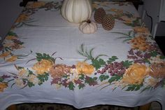 VINTAGE LINEN TABLECLOTH HARDY CRAFT FALL AUTUMN THANKSGIVING