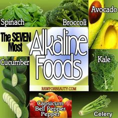 the 7 most alkaline foods. Aim for an alkaline acidic diet - it's what your digestive system is designed to process. RE: Kimberly Snyder, CN Acidic Diet, Alkaline Foods, Alkaline Recipes, Detox Recipes, Raw Food Recipes, Healthy Recipes, Healthy Foods, Healthy Bodies, Stay Healthy