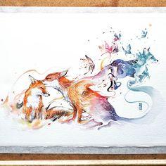 """Last Kiss"" Watercolor on Arches Aquarelle size 28x38cm 300gsm. fox watercolor watercolour"
