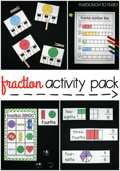 Tons of awesome fraction activities and fraction games for kids. Fun ways to learn about denominators, numerators and whole fractions.