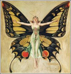 The Flapper-Would love this as part of back tattoo. Wonder how tattoo artist would redo this for ink?