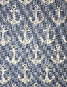 Anchors Fabric A printed curtain fabric featuring a repeat of ship anchors on denim blue.