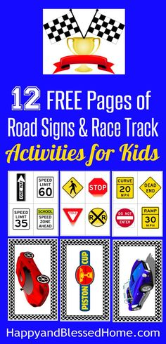 12 Free Pages of Road Signs and Rack Track Activities for Kids - Free Printables for race car play for boys and girls from HappyandBlessedHome.com Easily create a road sign game with tips for checkered flag crafts for kids!