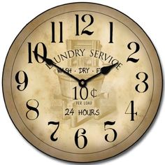 Vintage Laundry Room Wall Clock, Available in 8 Sizes, Most Sizes Ship The Next Business Day, Whisper Quiet. Lighted Vanity Mirror, Mirror With Lights, Grandfather Clocks For Sale, Best Wall Clocks, Parchment Background, Clocks Back, Vintage Laundry, Outdoor Light Fixtures, Outdoor Lighting