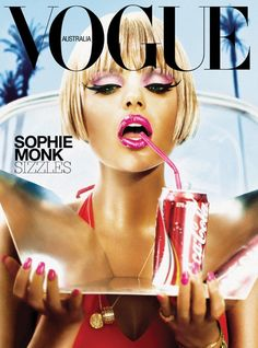 "I find this cover very intriguing with the lack of words on the front page. I think just the name of the singer on the front with an adjective after it makes a reader want to open up the magazine. I like how simple this design is with Vogue in all capital letters stretching across the top and then the same color font of Vogue is for ""Sophie Monk"" as well. I also like how ""Australia"" is within the ""O"" so it doesn't take away from the cover, yet informs readers of what they are reading."
