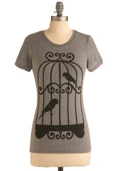 Pair-a-cutes Tee - Grey, Black, Print with Animals, Novelty Print, Casual, Short Sleeves, Spring, Summer, Mid-length