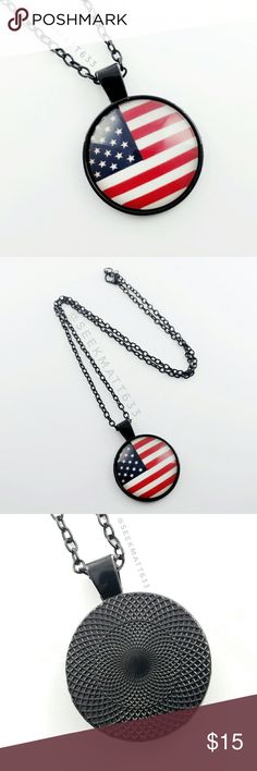 SOLD American USA Flag Black Necklace American USA Flag Black Necklace Fourth of July Necklace  * Brand New! Never Used!   (Just out of package only for these photos) * Makes a great gift! * Remind yourself or someone else of the wonderful freedoms we have in the USA that were fought & sarcificed for!  Fourth of July gift, fourth of July Necklace, USA, American, America, American Flag, USA Flag, Black Necklace, American, Veteran, Military, fashion necklace, fashion jewelry, glass necklace…