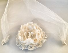 Moms Wedding Dress Flower & Veil by BeautifulAgainBridal