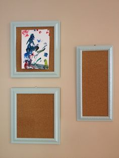 Repurposed picture frames for cork boards Picture Frame Crafts, Old Picture Frames, Toddler Playroom, Recyle, Cork Boards, Childrens Artwork, Craft Projects, Craft Ideas, Recycling Ideas