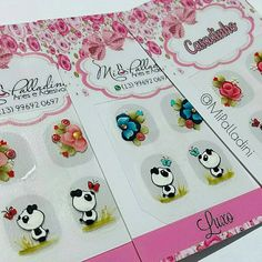 Work ❤ #adesivosdeunhas #nailartoohlala #nailsfashion #unhasdediva #panda #flowers #nails #peliculasdeunhas